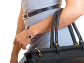 Bag on a female hand — Stock Photo