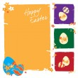 Stock Vector: Easter greeting card with colorful eggs