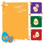 Wielkanoc kartkę z życzeniami z kolorowymi jajkami — Wektor stockowy