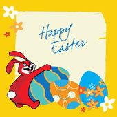 Il coniglio e le uova colorate di Pasqua — Vettoriale Stock