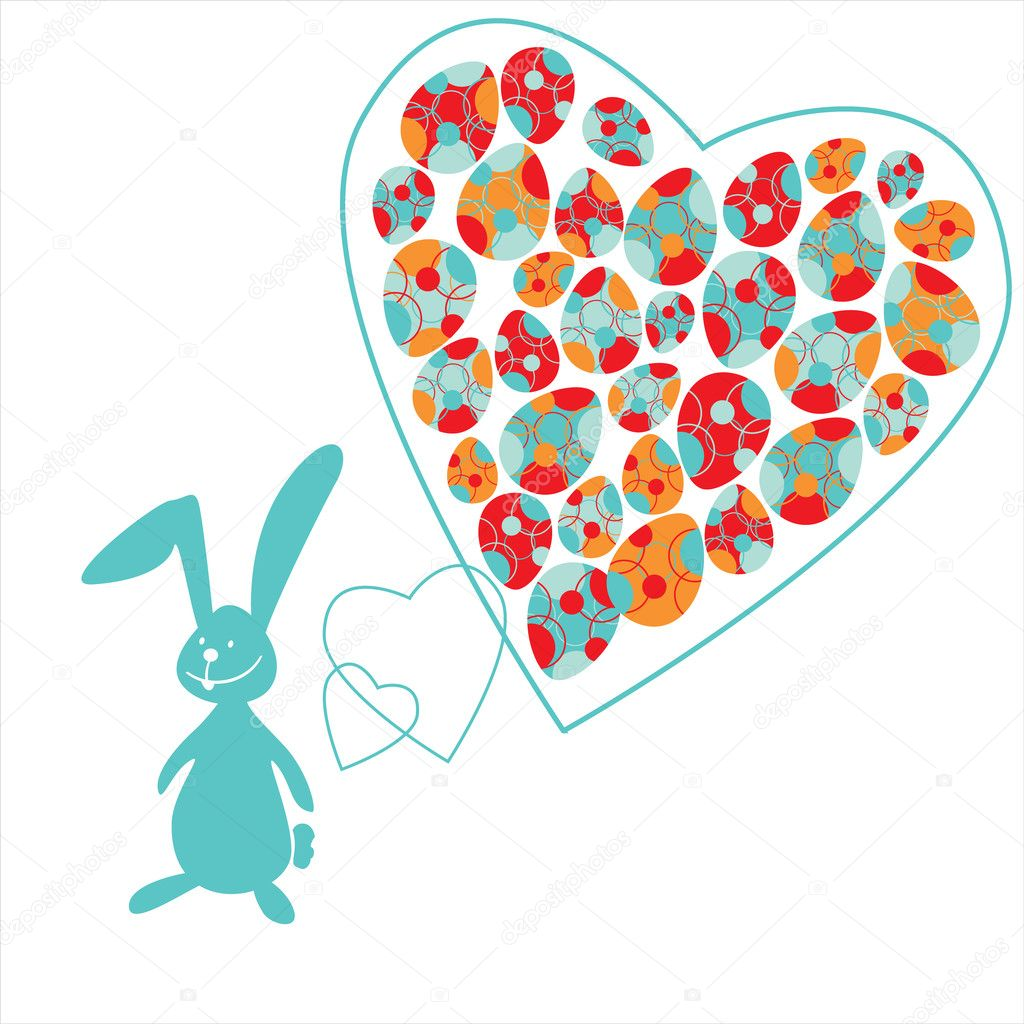 The small bunny and colorful Easter eggs in heart  — Stock Vector #2214274