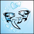 Love, background with fishes - Stock Vector