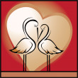 Love, background with storks - Stock Vector