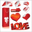 Icon set with hearts, love, stickers and — Imagens vectoriais em stock