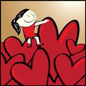 Girl in a sea of hearts — Stock Vector