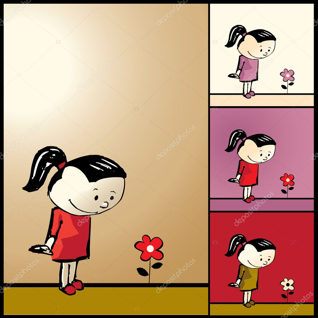 Vector illustration of girl with flower  Stock Vector #2258623