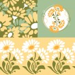 Retro floral wallpaper design - Stock Vector