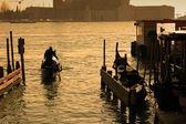 Old photo look - gondolier, Venice — Stock Photo