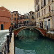 Bridge over canal in winter, Venice — Stock Photo