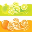 Fresh fuits, orange and lemon - Stock Vector
