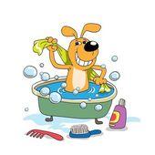 Bir köpek yavrusu banyo — Stok Vektör