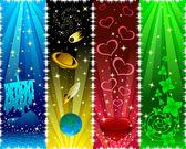 Verticale banners met sterren — Stockvector