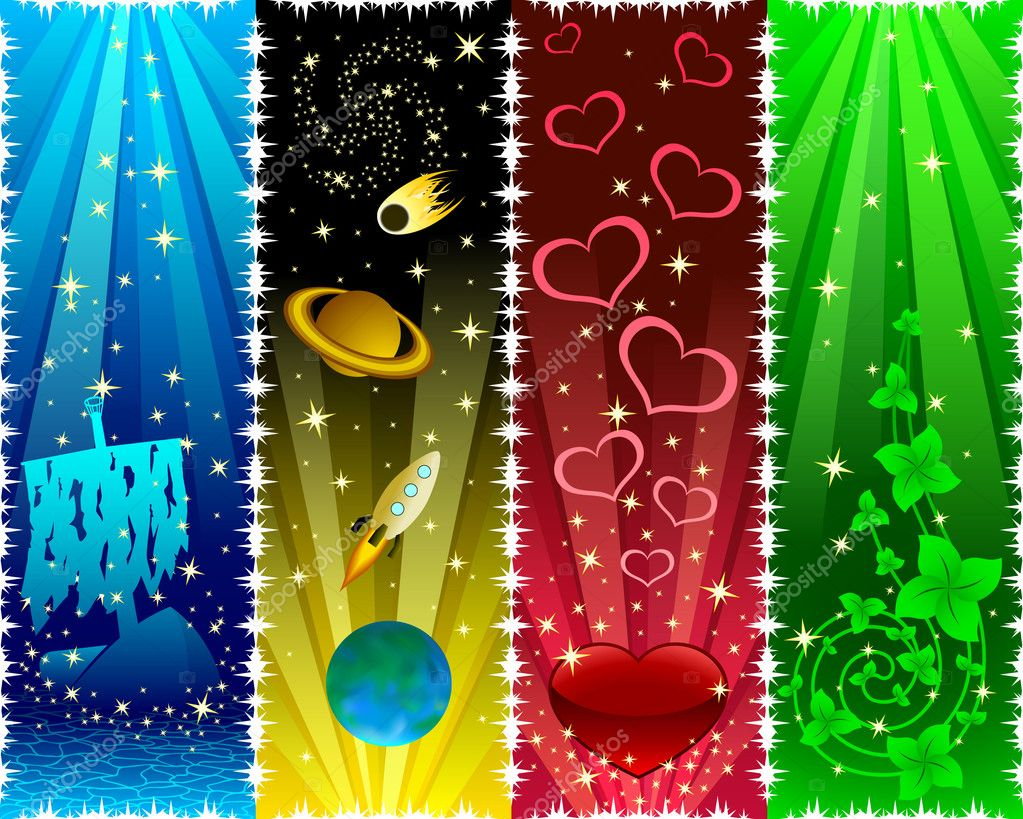 Vertical banners with stars. Vector — Stock Vector #2086973