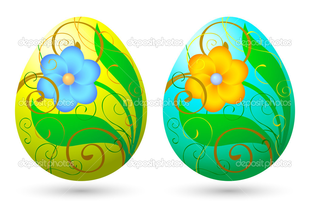 Easter eggs with floral decorations  Stock Vector #2120997