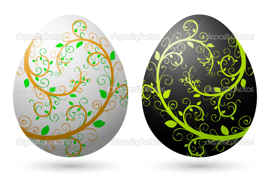 Easter eggs with floral decorations — Stock Vector #2121015