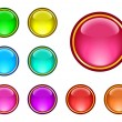 Stock Vector: Glassy buttons