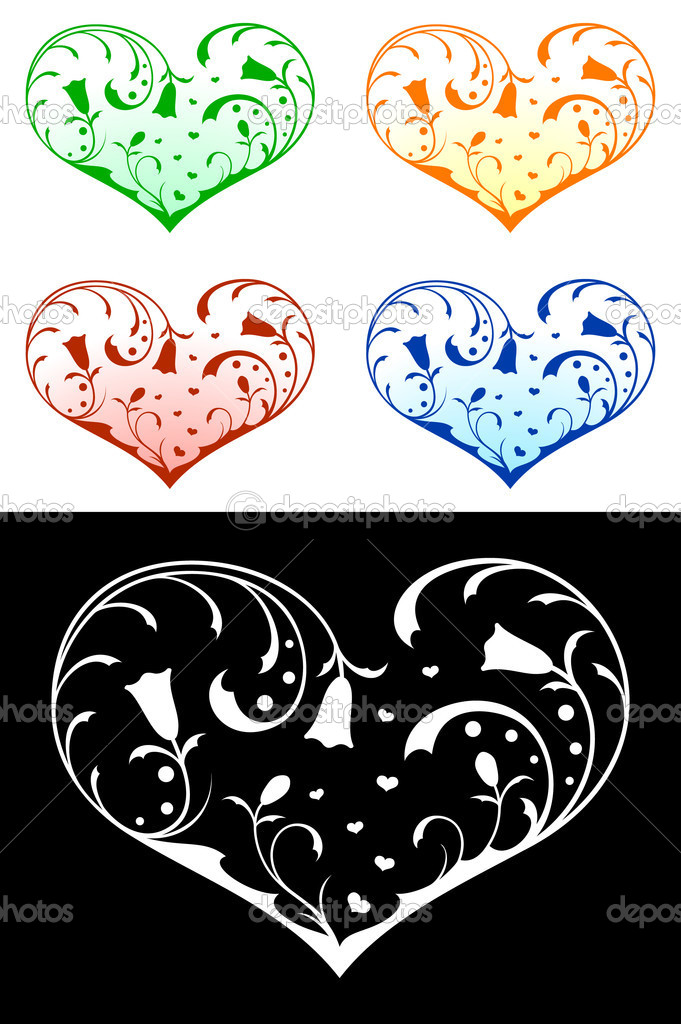 Vector hearts with floral decorations — Imagen vectorial #2135095