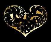 Gold ornate heart — Stock Vector