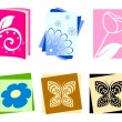 Icons with flowers and butterflies — Stock Vector