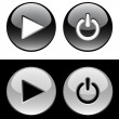 Stock Vector: Black and white ring buttons