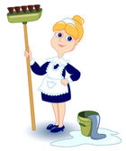 Cleaning girl — Stock Vector
