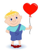 Boy with heart-balloon — Stock Vector
