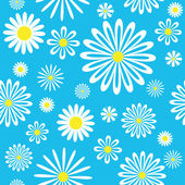 Seamless white-blue chamomiles pattern. — Stock Vector