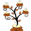 Stock Vector: Cofee cups tree 1