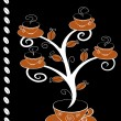 Stock Vector: Cofee cups tree 3