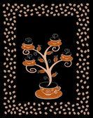 Cofee cups tree 4. — Stock Vector
