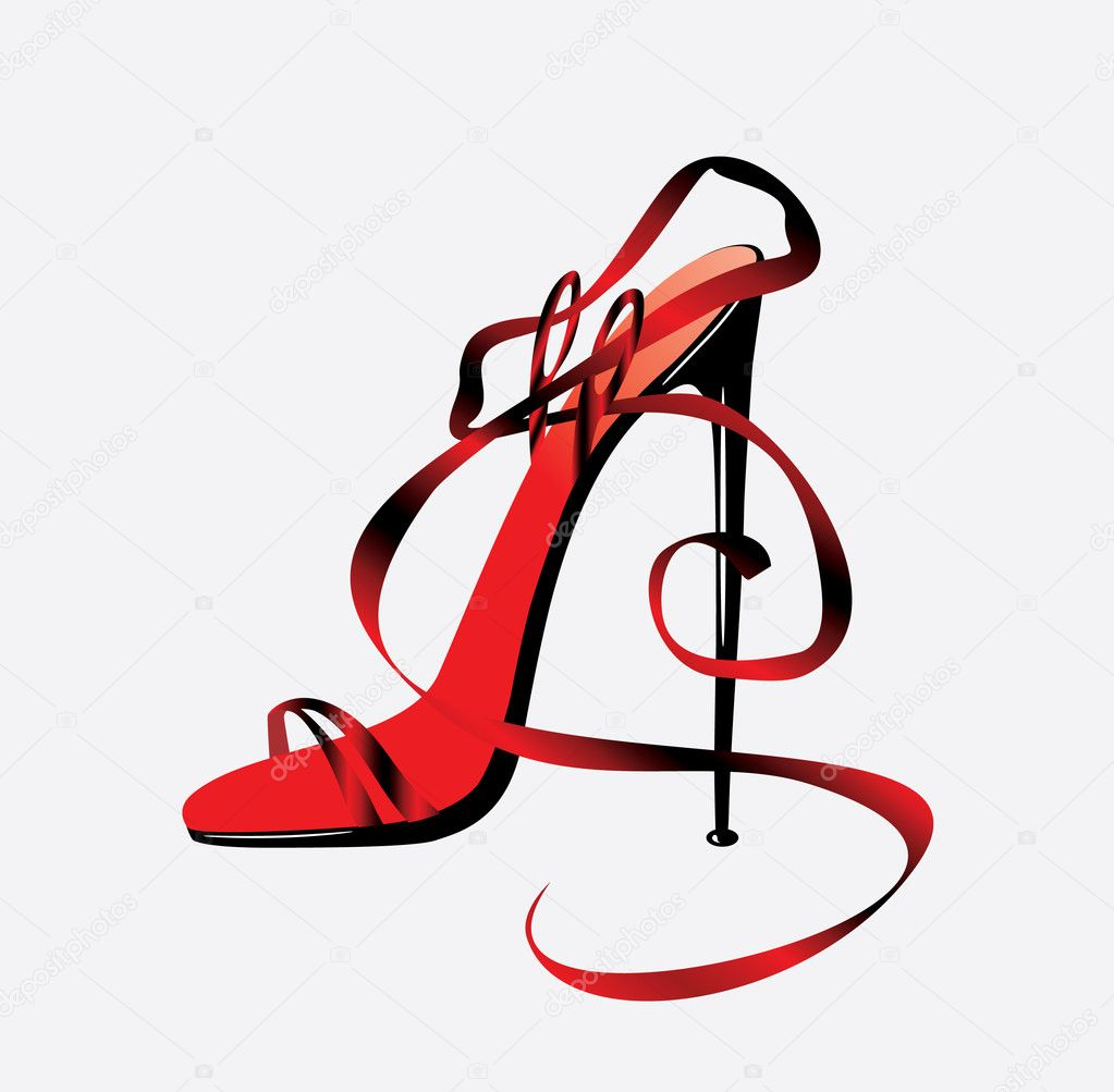 The barafoot person on a high heel. Vector — Stock Vector #2087335