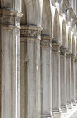 Ancient columns led down a hall — Stock Photo