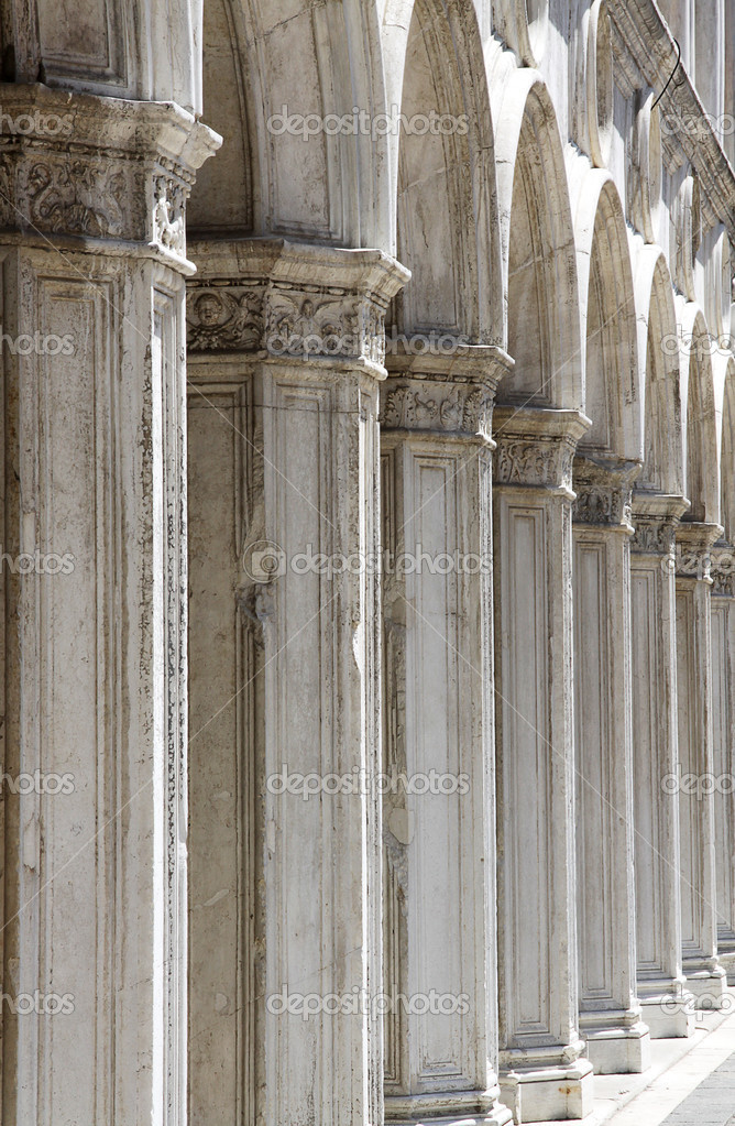 Ancient columns led down a hall to Saint Marco Square in Venice Italy — Stock Photo #2218649