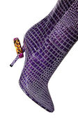 Magenta boot with a bracelet on a heel — Stock Photo