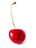 Sweet cherry in drops — Stock Photo