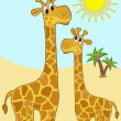 Mother-giraffe and baby-giraffe. — Stock Vector