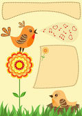 Singing bird. Greeting card. — Stock Vector