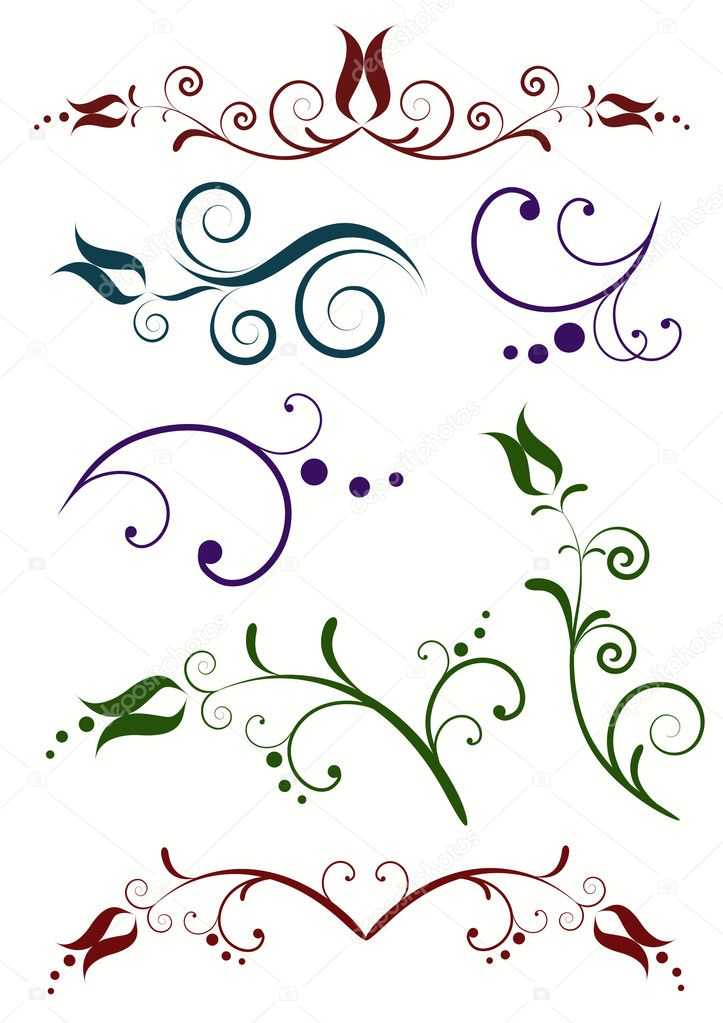 Decorative floral elements on the white.  — Stock Vector #2176986