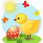 Chicken. Easter card — Stock Vector