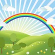 Stock Vector: Rainbow. Landscape.