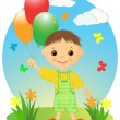Happy little boy with balloons. — Stock Vector