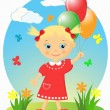 Happy little girl with balloons. — Stock Vector