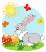 Velikonoční přání. králík. — Stock vektor