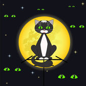 Cat and full moon. — Stock Vector