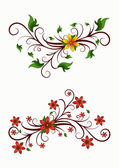 Decorative floral elements — Vector de stock
