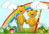 Cartoon funny bears. — Stock Vector