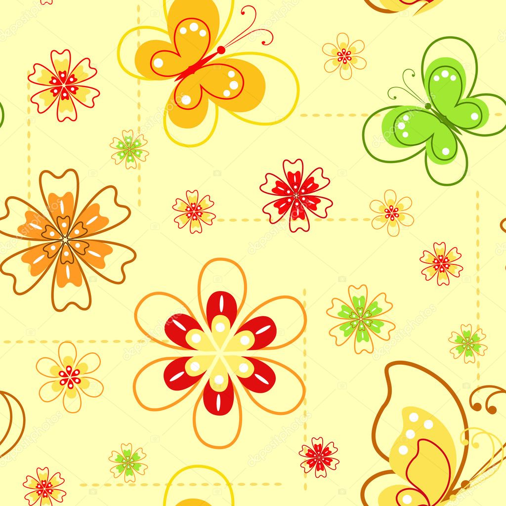 Flowers and butterflies. Spring seamless. Vector illustration.  Stock Vector #2188410