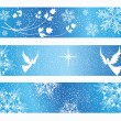 Stock Vector: Winter background. Three banners.