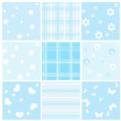 Stock Vector: Set blue baby seamless.