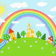 Royalty-Free Stock Vector Image: Baby landscape. Rainbow.